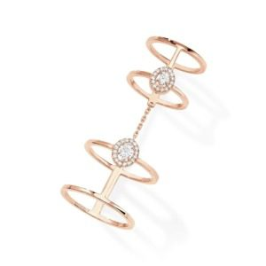 Messika - Bague Glam'Azone Double - or rose diamant