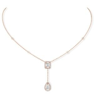 Messika - Collier Cravate My Twin 0,40ct x2 - or rose diamant