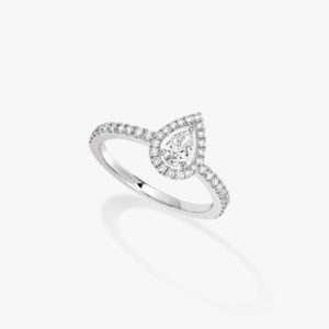 Messika - Bague Solitaire Joy poire 025ct - Or blanc - Valer Nice - Joaillerie
