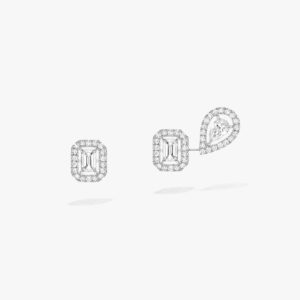 Messika - Boucles oreilles My Twin asymetriques - Or blanc - Valer Nice - Joaillerie