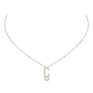 Messika - Collier Move Addiction Pave long - Or rose - Valer Nice - Joaillerie