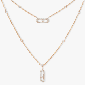 Messika - Collier Move Uno 2 Rangs Pave - Or rose - Valer Nice - Joaillerie
