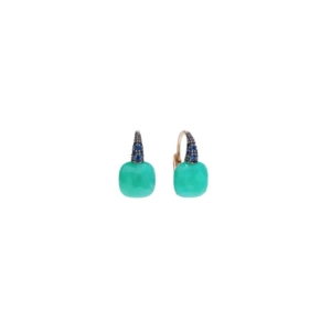 Earrings-capri-rose-gold-18kt-chrysoprase-blue-sapphire - Valer, votre bijouterie à Nice