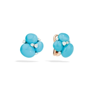 Earrings-capri-rose-gold-18kt-turquoise-diamond - Valer, votre bijouterie à Nice