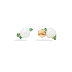 Earrings-capri-studs-rose-gold-18kt-white-ceramic-tsavorite - Valer, votre bijouterie à Nice