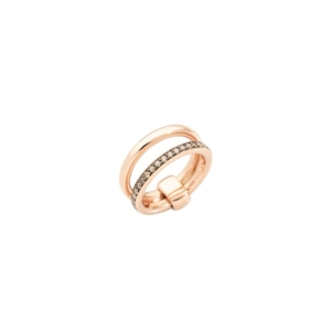 Iconica-band-ring-rose-gold-18kt-brown-diamond - Valer, votre bijoutier à Nice