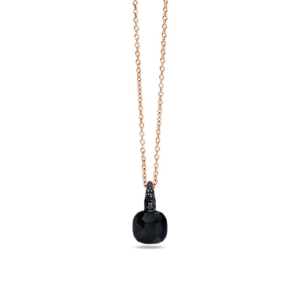 Pendant-with-chain-capri-rose-gold-18kt-onyx-treated-black-diamond - Valer, votre bijoutier à Nice