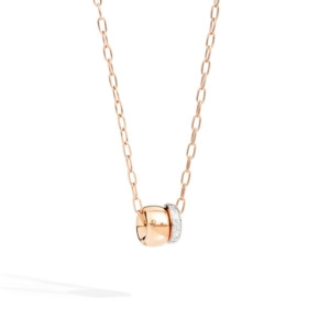 Pendant-with-chain-iconica-pavé-rose-gold-18kt-diamond - Valer, votre bijouterie à Nice