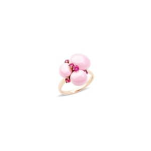Ring-capri-small-rose-gold-18kt-pink-ceramic-ruby - Valer, votre bijoutier à Nice
